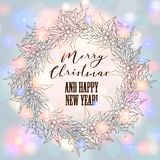 New year greeting card with holly berries and leaves wreath. Floral design. Royalty Free Stock Photography