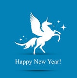 New Year Greeting Card. Horse New Year Greeting Card (Used Free Times New Roman Font Royalty Free Stock Photo