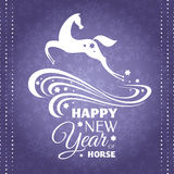New year greeting card with horse. Vector illustration Royalty Free Stock Images