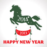 New year greeting card with horse. Vector illustration Stock Photo