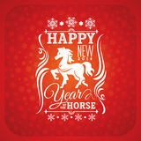 New year greeting card with horse. Vector illustration Stock Image
