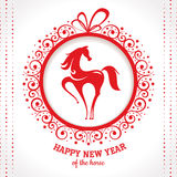 New year greeting card with horse. Vector illustration Stock Images