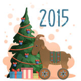 New year greeting card illustration. 2015 New year greeting card illustration with christmas tree, presents and the toy, wooden goat - symbol of the new year Stock Photos