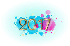 New year greeting card. Illustration of new year 2017 greeting card with colors decoration stock illustration
