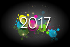 New year greeting card. Illustration of new year 2017 greeting card with colors decoration vector illustration