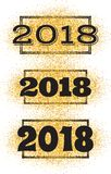 New Year greeting card with the inscription 2018 on background of gold particles. New Year greeting card with the inscription 2018 on the background of gold Royalty Free Stock Image