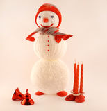 New Year greeting card with knitted snowman Stock Image