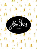 New Year greeting card. Lettering text  in black oval on white background with gold Christmas trees Stock Photo