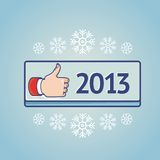 New year greeting card with like sign. Greeting card with like sign on blue button with 2013 Royalty Free Stock Photos