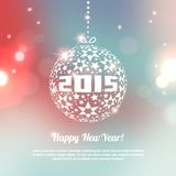 New Year 2015 Greeting Card in minimalistic style. Colorful bokeh abstract background with circles of light. Invitation with place for your text message. Vector Stock Images