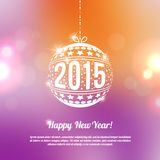 New Year 2015 Greeting Card in minimalistic style. Colorful bokeh abstract background with circles of light. Invitation with place for your text message. Vector Stock Photography