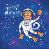 New Year greeting card with a monkey astronaut Royalty Free Stock Photos