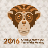 New Year 2016 greeting card. Monkey. Symbol of the 2016 Year by Chinese Horoscope. Patterned Tribal ornate illusration. New Year greeting card stock illustration