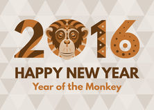 New Year 2016 greeting card. Monkey. Symbol of the 2016 Year by Chinese Horoscope. Patterned Tribal ornate illustration. New Year greeting card royalty free illustration