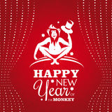 New year greeting card with monkey. Vector illustration Stock Photo