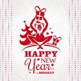New year greeting card with monkey. Vector illustration Royalty Free Stock Image