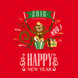 New year greeting card with monkey. Vector illustration Royalty Free Stock Images