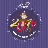 New year greeting card with monkey Royalty Free Stock Images