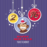 New year greeting card with monkey. Vector illustration Royalty Free Stock Photo