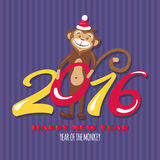 New year greeting card with monkey. Vector illustration Stock Image
