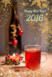 New Year greeting card with mulled wine Stock Photography
