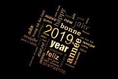 New year greeting card 2019. Multilingual word cloud, golden letters on black. Background stock photography