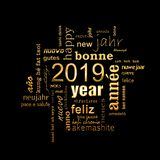 New year greeting card 2019. Multilingual word cloud, golden letters on black. Background stock image