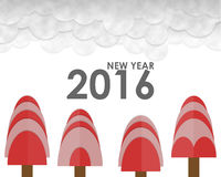 New Year 2016 Greeting Card. Paper cut and paste. New Year 2016 Greeting Card royalty free illustration