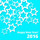 New Year Greeting card with paper effect different colored stars Royalty Free Stock Image
