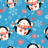 New year greeting card with penguin pattern Royalty Free Stock Photos