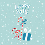 New Year Greeting card with a picture of Christmas Royalty Free Stock Photography