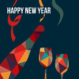 New year greeting card, polygon bottle of wine and glasse Stock Photo