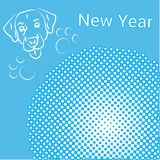 New Year Greeting Card Pop Art Comic Banner With Dog Holiday Decoration Design Stock Photo