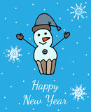 New Year greeting card or poster with snowman Stock Images