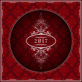 New Year 2017 greeting card in red. Christmas and New Year 2017 greeting card in red color with ornaments. Vector Illustration Royalty Free Stock Photography