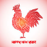 New Year greeting card with Red Rooster. Chinese new year 2017 - Rooster Year. Vector illustration Stock Images