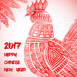 New Year greeting card with Red Rooster. Chinese new year 2017 - Rooster Year. Vector illustration Stock Image