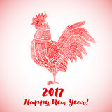 New Year greeting card with Red Rooster. Chinese new year 2017 - Rooster Year. Vector illustration Stock Photography