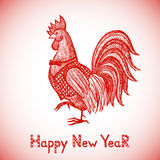 New Year greeting card with Red Rooster. New Year greeting card with hand drawn Red Rooster. Chinese new year 2017 - Rooster Year. Rooster in sketch style Royalty Free Stock Photo