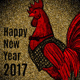 New Year greeting card with Rooster. New Year greeting card with hand drawn Rooster on gold glitter background. Chinese new year 2017 - Rooster Year. Rooster in Royalty Free Stock Photos