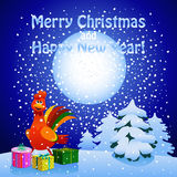 New year greeting card with rooster and presents Stock Images
