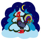 New year greeting card with rooster in red boots with spurs. Winter night landscape with cartoon rooster in red boots with spurs and snow-covered spruce on a Stock Images