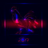 2017 New Year greeting card with rooster - symbol of the year. Vector illustration of rooster, symbol of 2017 on the Chinese calendar Stock Photography