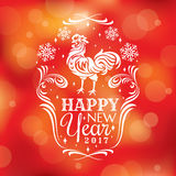 New year greeting card with rooster. Vector illustration, eps 10 Stock Photography