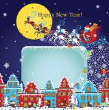 New Year greeting card.Santa Claus coming to City.Vector Stock Photography