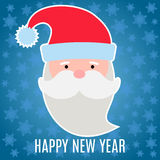 New Year greeting card with Santa Claus. On dark blue background with snowflakes stock illustration