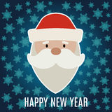 New Year greeting card with Santa Claus on dark blue background. With snowflakes vector illustration