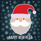 New Year greeting card with Santa Claus on dark blue background. With snowflakes stock illustration