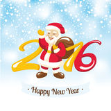 New Year greeting card with Santa Claus. Vector illustration Stock Photos