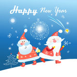 New Year greeting card with Santa Clauses Stock Photos